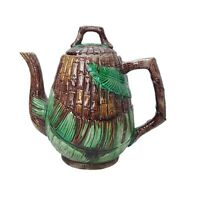 Vintage Pottery Majolica Bamboo Palm Leaves Basket Weave Teapot Coffee Pitcher