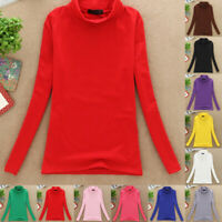 Women Fall Winter Bottoming Tops Cotton Long Sleeve Solid Stretch T-Shirt