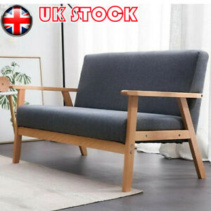 Modern 2 Seater Sofa Bed Armchair Upholstered Fabric Linen Seat Wooden Frame