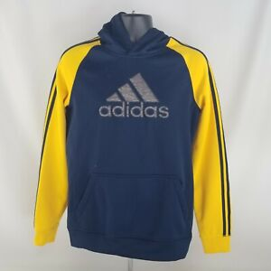 Adidas Blue & Yellow Sweater Size Extra Large 18 Hooded Hoodie Youth Fleece
