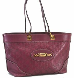 Authentic GUCCI Guccissima Leather Shoulder Tote Bag Purple C4009