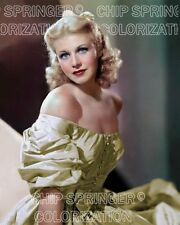 GINGER ROGERS WEARING PUFFY SLEEVED DRESS BEAUTIFUL COLOR PHOTO BY CHIP SPRINGER