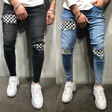 Mens Slim Fit Biker Jeans Ripped Denim Distressed Pants Frayed Skinny Trousers