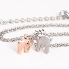 Dainty Elephant Pendant Mother & Baby Elephant Necklace Silver Plated Chain Gift