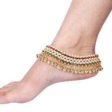 Indian Traditional Bollywood Anklet Payal Gold Tone Multi-Color Kundan Fashion