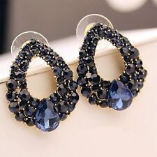 Simulated Sapphire Blue Crystal Oval Stud Earrings.Beautiful Womens Jewellery.