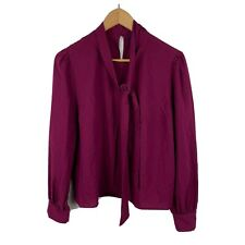 Princess Highway Womens Blouse Size 14 Purple Long Sleeve Pussy Bow Gorgeous