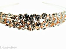 Elegant Diamante Tiara Headband in Rose Gold with Round Crystals