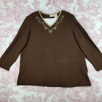 Bobbie Brooks Sweater Womens Plus Size 22W/24W Long Sleeve Brown Floral