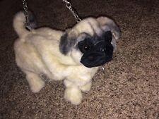 NWT TeaCup Pug FuzzyNation Novelty Purse Realistic Bag on Leash Fuzzy Nation Dog