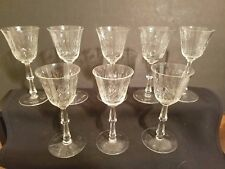 Set of 8 Vintage MidCentury Etched Glass Stemmed Cordial/Sherry Glasses