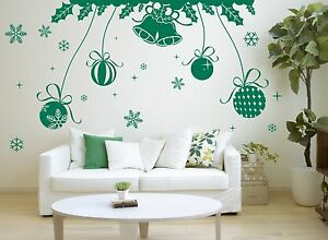 Christmas Special Bell, Balls & Snowflakes Wall Art Vinyl Wall Sticker Removable