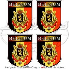 "BELGE Ecusson BELGIQUE 50mm (2"") Vinyle Autocollant x4 Stickers"