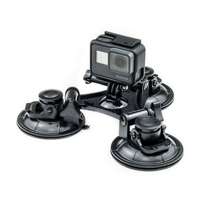 Triple Suction Cup Car Mount For GoPro Hero 9 8 7 6 5 4 Action Cam Go Pro HD
