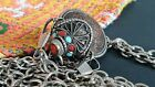 Old Tibetan Coin Snuff Bottle with Local Turquoise   Coral   Silver on Chain