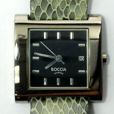 Boccia Titanium Ladies Watch Grey Genuine Leather Strap Black Square Face