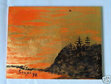 VINTAGE SIGNED MYSTERY ARTIST SOUPI PAGODAS ON MOUNTAIN CLIFF PAINTING ON WOOD