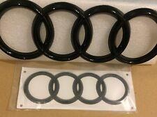 Black Gloss Front Grille + RareBoot Badge Ring Emblem Audi A4 A6 Q3 Q5 Q7