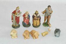 Alte Krippenfiguren Pappmache Masse 10 Stück Antik Fach A2