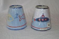 POTTERY BARN KIDS lamp shade fish and submarine blue mini set of 2