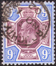 1902 DE LA RUE SG251 9d SLATE PURPLE AND ULTRAMARINE HINGED WITH CDS