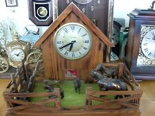 Very Nice Lanshire Barn/Corral  Horse Clock  Lanshire clock Co. Electric. Wood