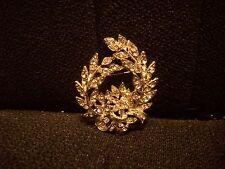 Pretty Leaf Flower Brooch pin with Rhinestone crystals clear Nwot