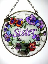 """AMIA STAINED GLASS SUNCATCHER 4.5"""" ROUND SISTER #8122"""