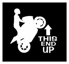 THIS END UP stunt BIKE RACER motorcycle DECAL STICKER wheel stripe