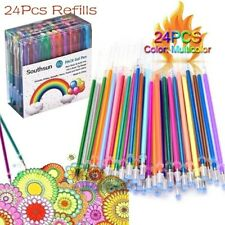 24 Colors Gel Pens Glitter Coloring Drawing Painting Craft Markers Stationery