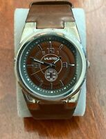 Kennett Cole's UNLISTED Men's Faux Leather Watch Japan Movt Brown-New Battery