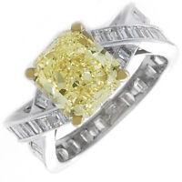 18k Gold GIA Certified 5.50 CT Fancy Yellow Cushion Cut Diamond Engagement Ring