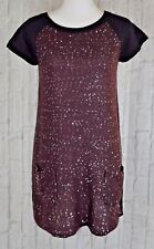 Style & Co Petite Colorblock Sequin Tunic Sweater Mixed Media Black Rhone PL S/S