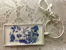 Beautiful, Rare Blue Willow, Silver Tone, Rectangular Key Chain 4.75in L x 2in