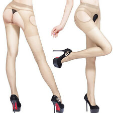 Lingerie Open Crotch Stockings Seamless Sheer Pantyhose Crotchless Tights