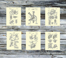 Bicycle Wall Art set of6 cream background art prints Gift for bicyclist Unframed