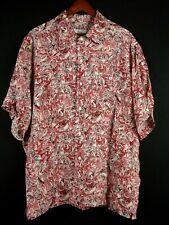 Brioni Italy Rayon Hawaiian Shirt Short Sleeve XL Red & Pink