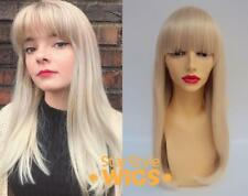 DELUXE LONG BLONDE STRAIGHT BLUNT FRINGE BANGS FASHION BARBIE WIG