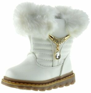 White Furry Gold Decor Kid Winter Booties, Toddlers size US 2-7 (EU 20-25)