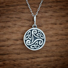 Sterling Silver Irish Celtic Triskele Triple Spiral Pendant FREE Cable Chain