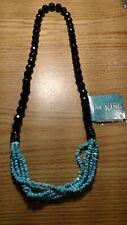 Jay King DTR Desert Rose Black Bead Necklace  Turquoise rope new. long.