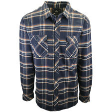 Rip Curl Men's Navy Orange Cream Plaid L/S Flannel Shirt (S10)