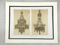 1862 Antique Print Crystal Chandelier Victorian Gothic Rare Chromolithograph