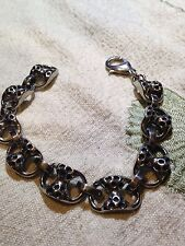 Vintage Mens Silver Stainless Steel Gothic Bracelet