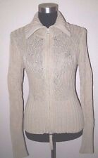 Women's One Girl Who Knit Anthropologie Sweater Jacket S Cardigan Cotton Beige