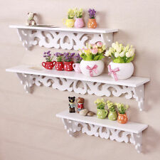 Set of 3 White Chic Filigree Floating wall Shelves CD Book Display Storage Shelf