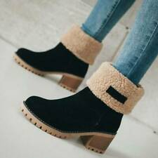Women Winter Ankle Boots Warm Fur Lined Mid Calf Snow Boots Block Heel Shoe Size