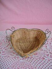 Vintage  Woven   Wicker  / metal  rim Heart  Basket