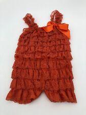 Baby Lace Ruffle Romper 6/9 Months Orange