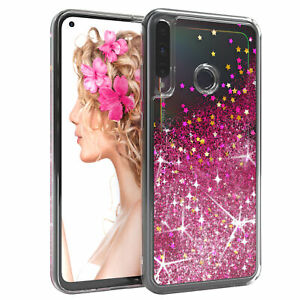 For Huawei P40 Lite E Cover Liquid Glitter cover Protective Phone Cover Pink